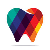 Colorful tooth icon. Flat style design stock illustration