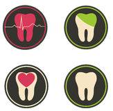 Colorful tooth illustrations Royalty Free Stock Photography