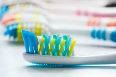 Colorful toothbrushes are very close-up Royalty Free Stock Photos