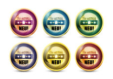Colorful Top Aktuell Neu Button Set Royalty Free Stock Photo
