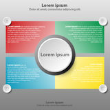 Colorful topics with 3d paper circle in center background for website presentation cover poster  design infographic. Illustration concept Stock Photos
