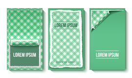 Colorful Torn Paper Vertical Banners. With place for text and green gingham tablecloth pattern vector illustration stock illustration