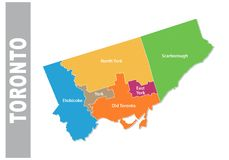 Colorful toronto administrative and political vector map.  Royalty Free Stock Images