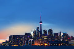 Colorful Toronto, Canada skyline at dusk. The Colorful Toronto, Canada skyline at dusk Royalty Free Stock Photo