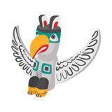 A colorful totem pole icon, cartoon style Stock Photos