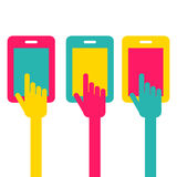 Colorful touch screen smartphone icon. Hand pointer symbol. Vect Stock Photos