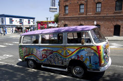 Colorful tour van in San Francisco Stock Photo