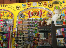 Colorful tourist shop in small town Mexico. Colorful art shops in small town Mexico waiting for American tourists for business Stock Images