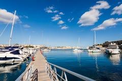 Port in Msida on Malta. Colorful touristic landscape of Port in Msida on Malta island. Beautiful seascape in south Europe Stock Image