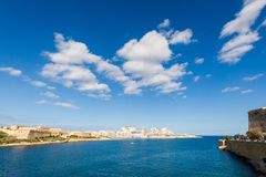Port in Msida on Malta. Colorful touristic landscape of Port in Msida on Malta island. Beautiful seascape in south Europe Stock Photography