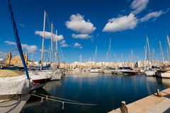 Port in Pieta on Malta. Colorful touristic landscape of Port in Pieta city on Malta island. Beautiful seascape in south Europe Stock Image