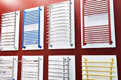 Colorful towel rails for bathroom in shop Royalty Free Stock Photos