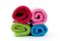 Colorful towel rolls Stock Photos