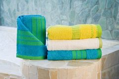 Colorful towel set Stock Photos