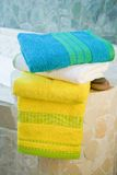 Colorful towel set Stock Photo