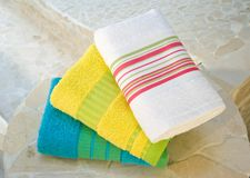 Colorful towel set Royalty Free Stock Images