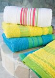 Colorful towel set Stock Image