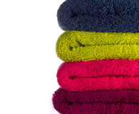 Colorful  Towels. Side view of colourfull towels Royalty Free Stock Photography