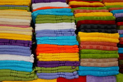 Colorful towels. Beautifully wrapped and placed over each other Royalty Free Stock Photo