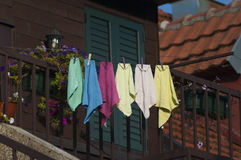 Colorful towels on the balcony. The cozy balconies Cetinje, Montenegro Stock Photo