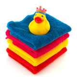 Colorful towels with bath duck Royalty Free Stock Photography