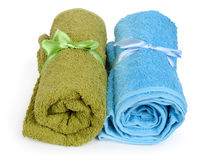 Colorful towels with bows Royalty Free Stock Photography