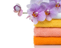Colorful towels and flower isolated Royalty Free Stock Photos