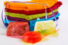 Colorful towels with  handmade soap Stock Photography