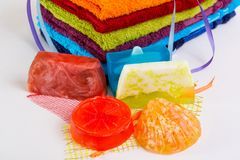 Colorful towels with  handmade soap Stock Photo