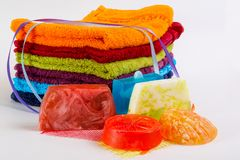Colorful towels with  handmade soap Royalty Free Stock Image