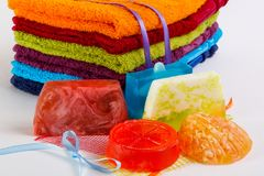 Colorful towels with  handmade soap Stock Photos