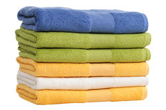 Colorful towels. Isolated Stock Photo