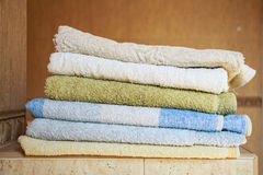 Colorful towels lie in the bathroom Royalty Free Stock Photography
