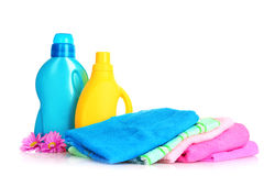 Colorful towels and liquid laundry Royalty Free Stock Photography