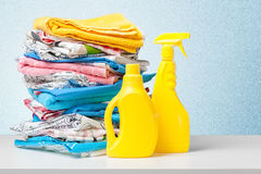 Colorful towels and liquid laundry Stock Image