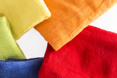 Colorful towels in a radial pattern Royalty Free Stock Photos