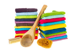 Colorful towels and sauna equipment Stock Image