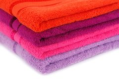 Towels. Colorful towels stack closeup picture Stock Photo