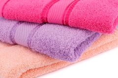 Towels. Colorful towels stack closeup picture Royalty Free Stock Photo