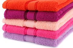Towels. Colorful towels stack closeup picture Stock Photography