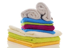 Colorful towels on a white background Royalty Free Stock Photography