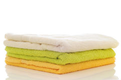 Colorful towels on a white background Stock Photography