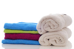 Colorful towels on a white background Royalty Free Stock Image