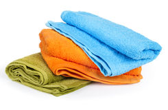 Colorful towels. On white background Stock Images
