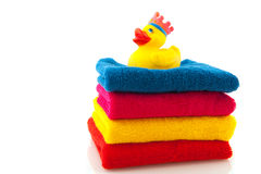 Colorful Towels With Bath Duck Royalty Free Stock Image