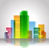 Colorful tower from rectangles Stock Photo