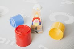 Colorful tower toys stock photos
