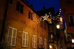 Colorful town. Lighting decoration in colorful town Colmar,France Royalty Free Stock Photography