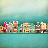 Colorful town. Festive illustration or poster with colorful town. Computer graphics Stock Images