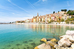 Colorful town Menton on french riviera, south France. Beautiful town on french riviera Stock Images